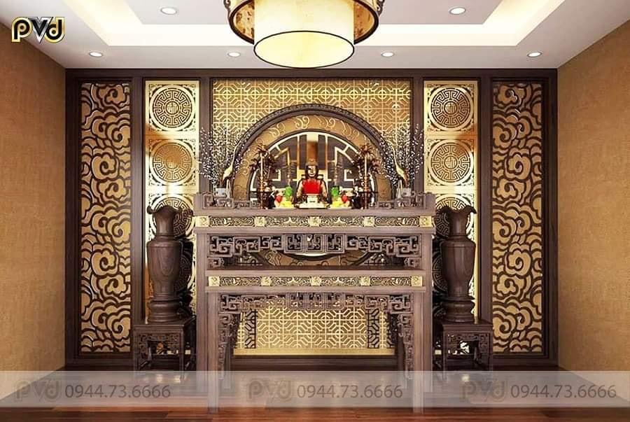 vách cnc phòng thờ mạ vàng