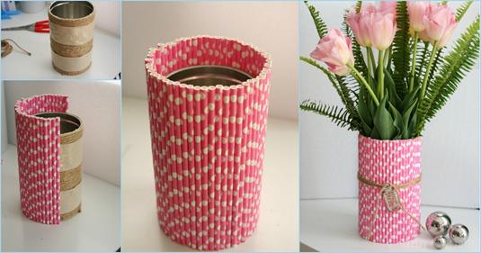 ý tường làm bình hoa trang trí bằng ống hút